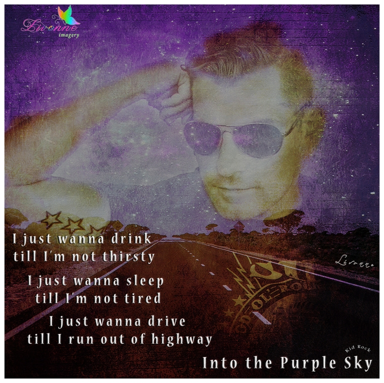 into the purple sky